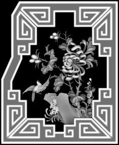 3d Grayscale Image Flowers and Birds BMP File