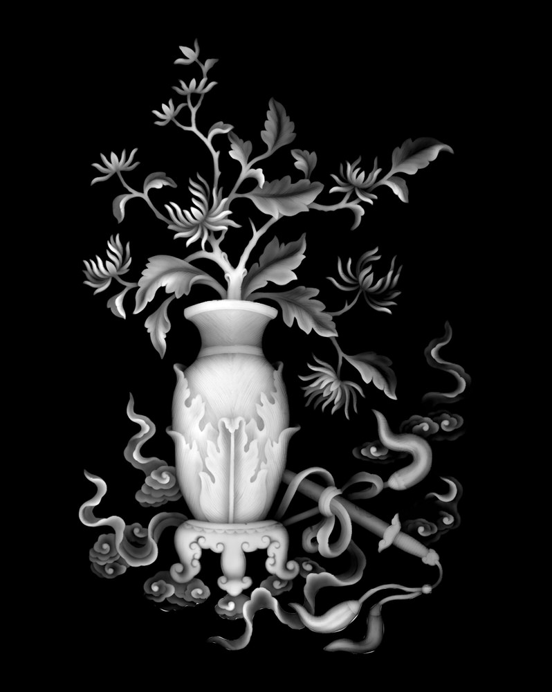 Bamboo Vase High Quality Grayscale BMP File