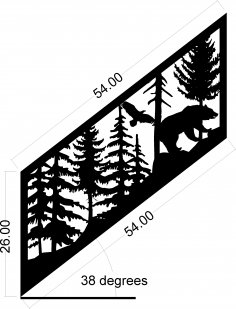 Staircase Panel Bear Eagle Plasma Metal Art Design DXF File