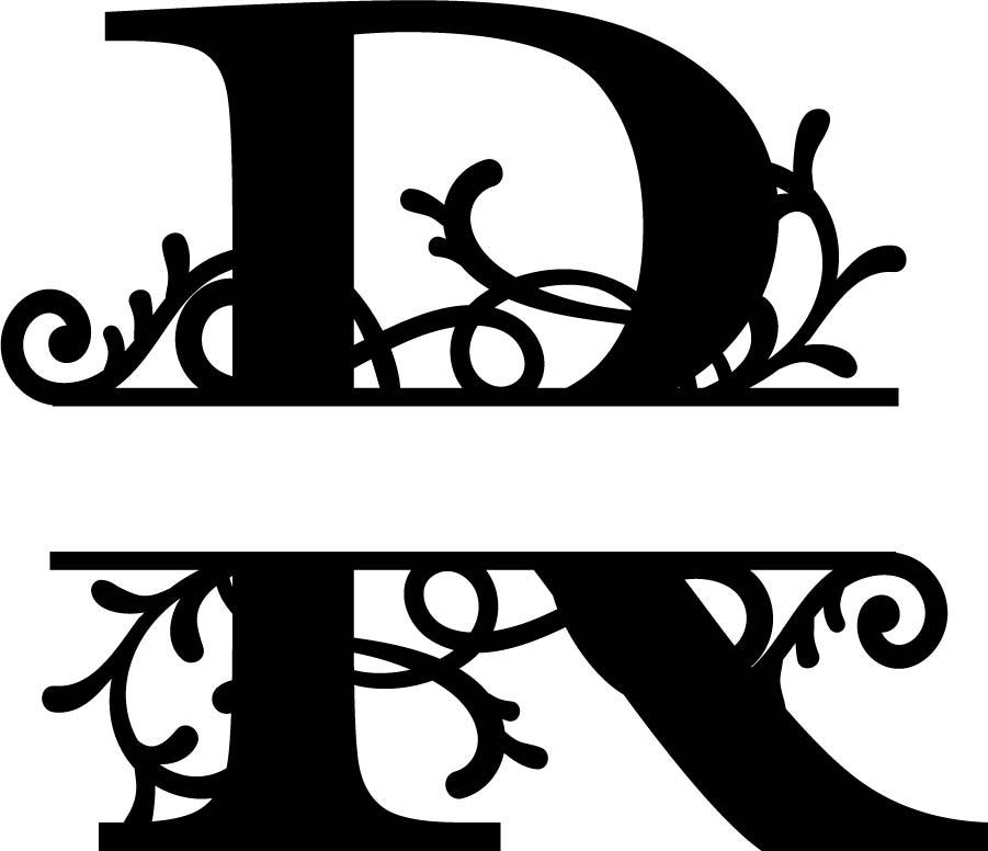Flourished Split Monogram R Letter Free Vector