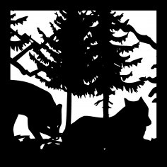 24 X 24 Fox Trees Mountains Plasma Art Design DXF File