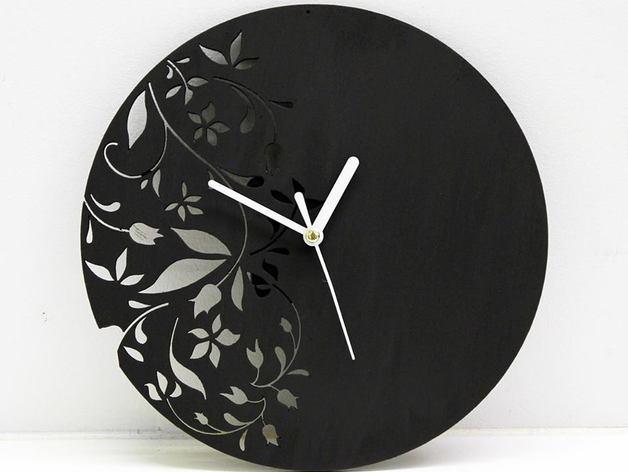 Laser Cut Wall Clock Modern Floral Design Free Vector