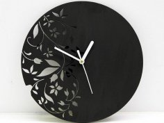 Laser Cut Wall Clock Modern Floral Design Free Vector