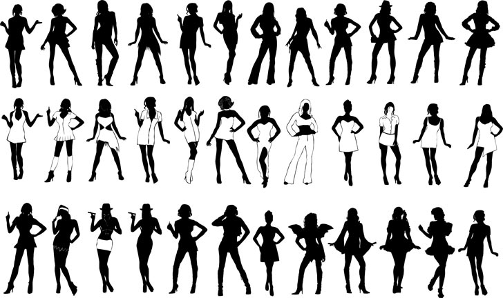 Silhouettes of Girls Free Vector