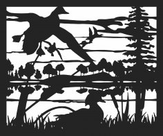 30 X 60 Ducks Coming In Plasma Metal Art DXF File