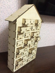 Advent Calendar Wooden House 31 Drawers Laser Cut Free Vector