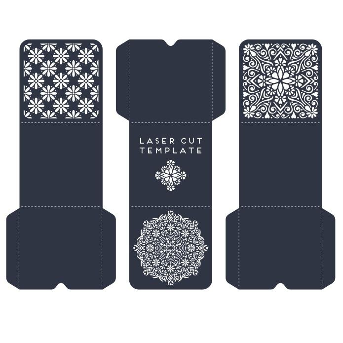 Laser Cut Gatefold Invitation Card Template Free Vector