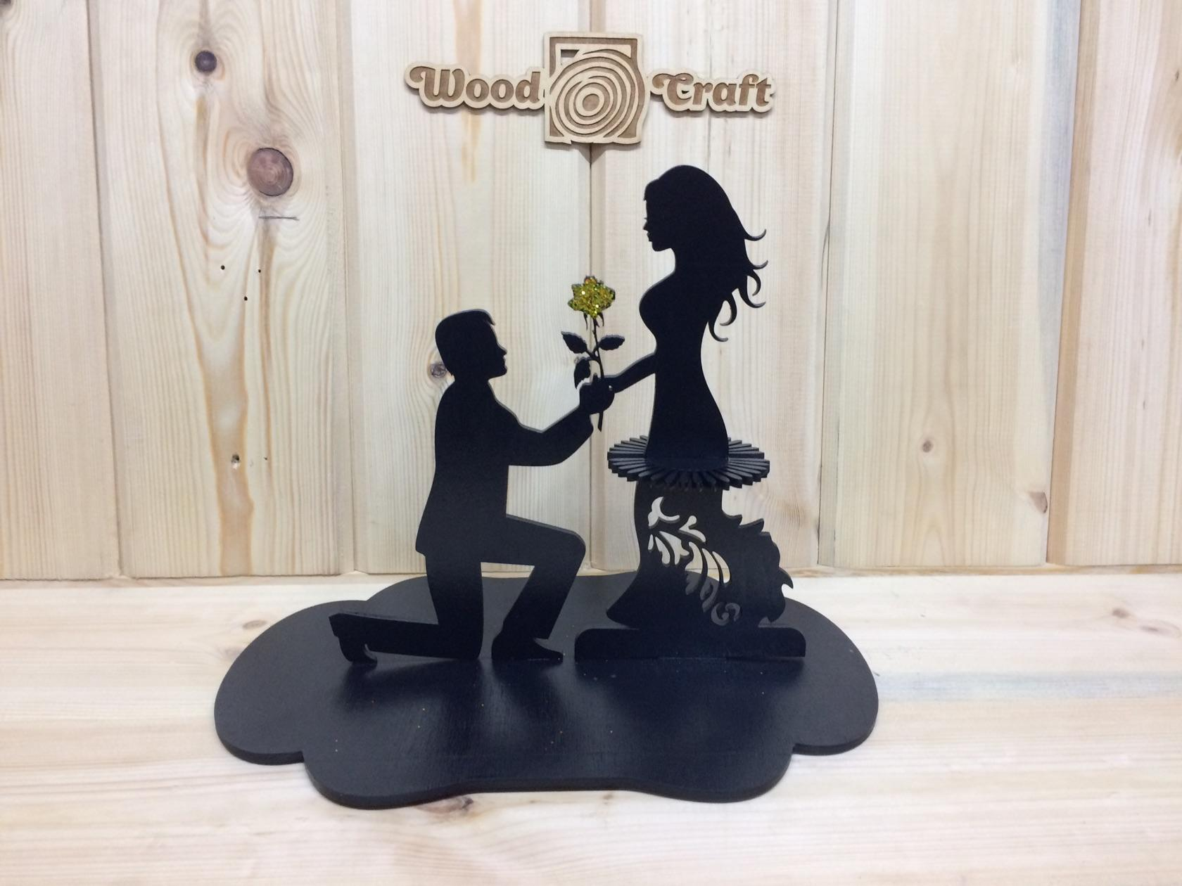 Laser Cut Napkin Holder Couple With Flower Free Vector