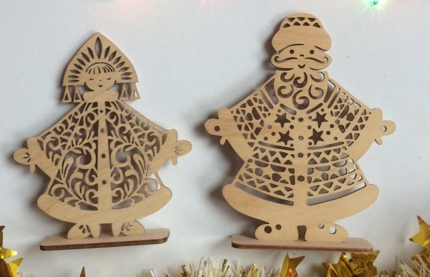 Laser Cut Santa and Snow Maiden Templates Free Vector