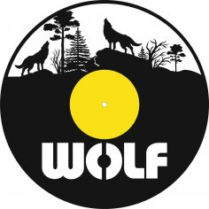 Laser Cut Wolf Vinyl Record Clock Template Free Vector