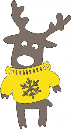 Laser Cut Wood Craft Deer In Sweater Free Vector