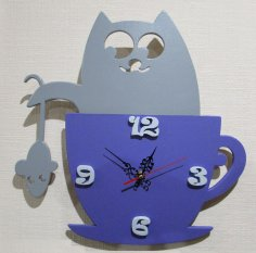 Laser Cut Children Wall Clock Cats and Mice Free Vector