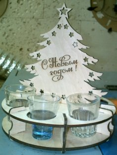 Laser Cut Christmas Tree with Wineglasses 4mm Free Vector