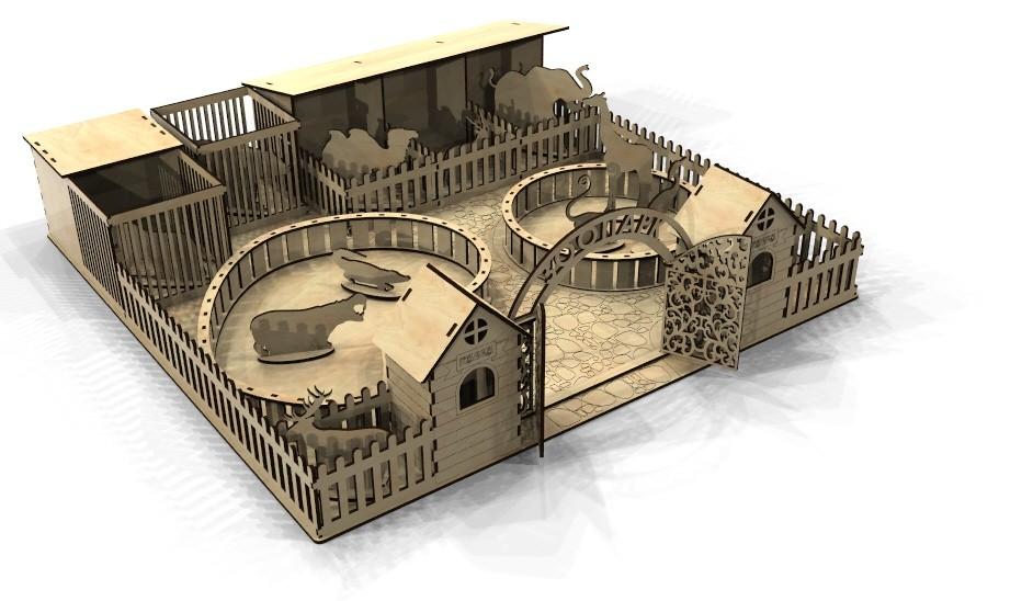 Laser Cut Zoo 3D Model Template Free Vector