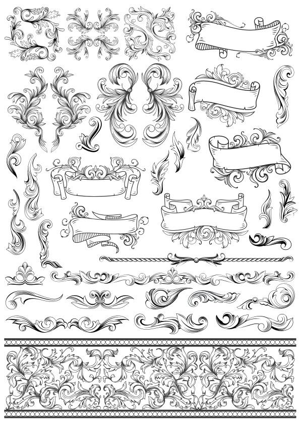 Baroque Style Vector Set Free Vector