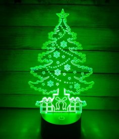 Laser Cut Acrylic Christmas Tree Night Light Free Vector