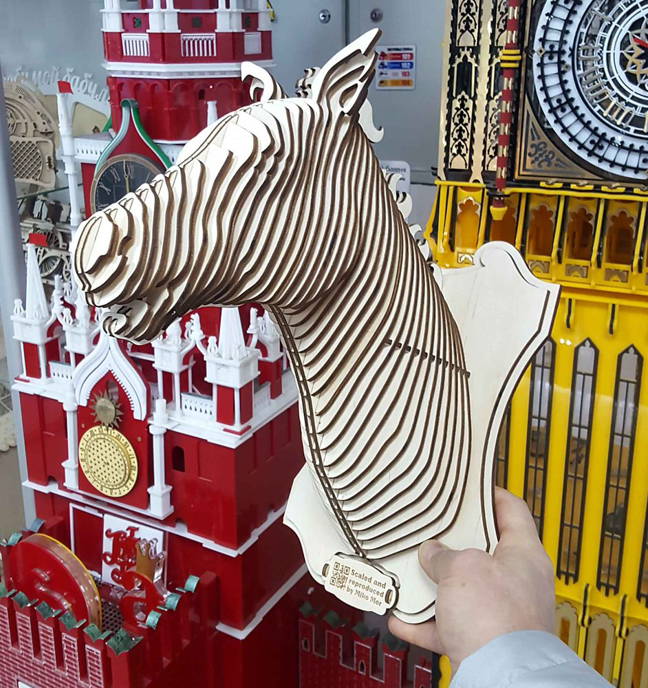 Horse Head 3D Puzzle for Laser Cutting Free Vector
