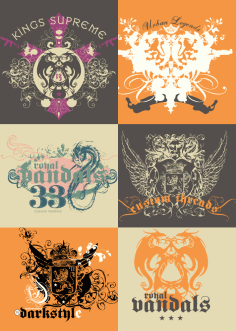 Vintage Tshirt Design With Dragons Free Vector