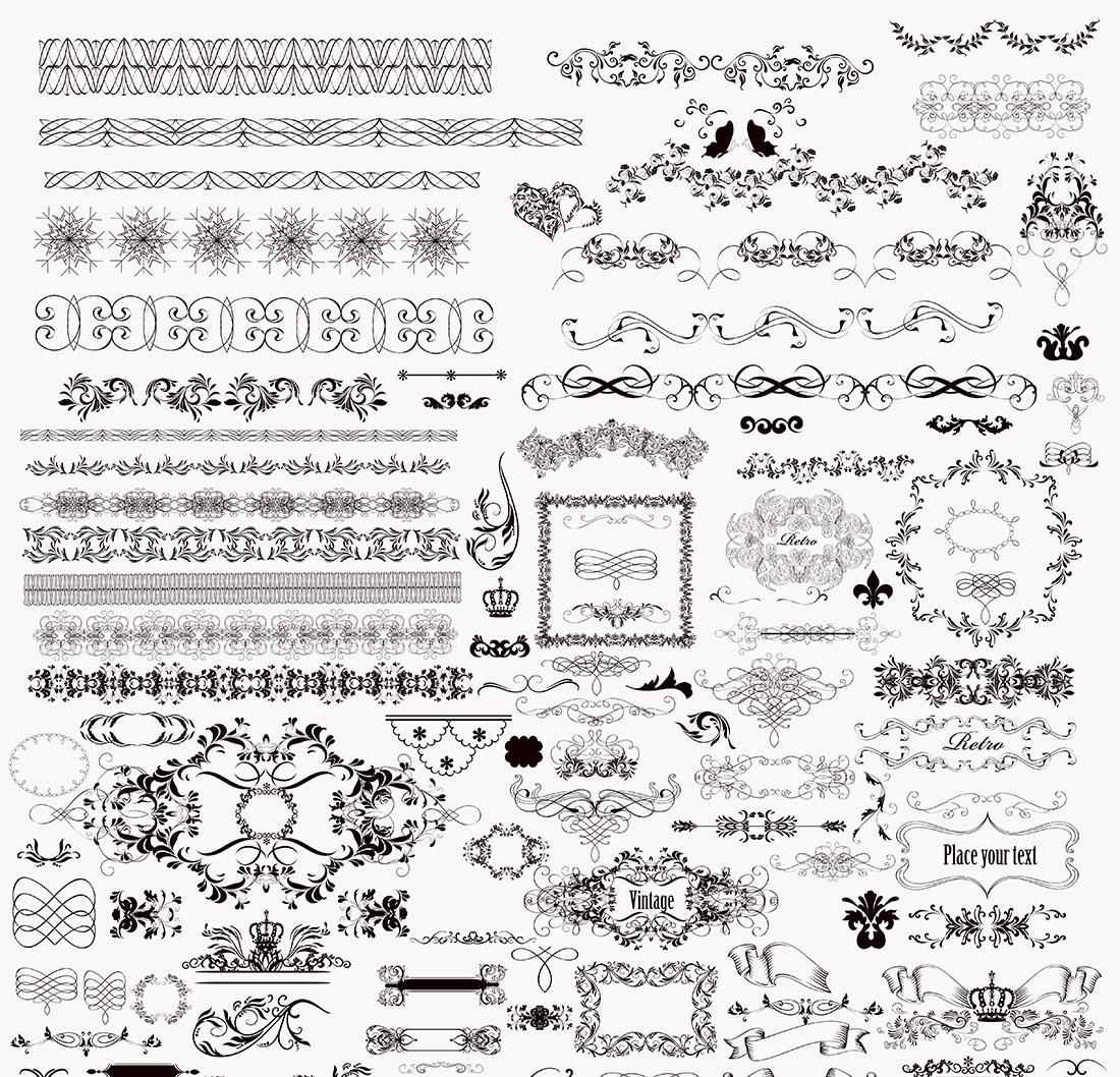 Floral Decorative Ornaments Free Vector