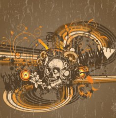 Music Skull T Shirt Prints Vector Free Vector