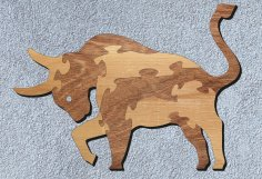 Laser Cut Bull Jigsaw Puzzle Free Vector