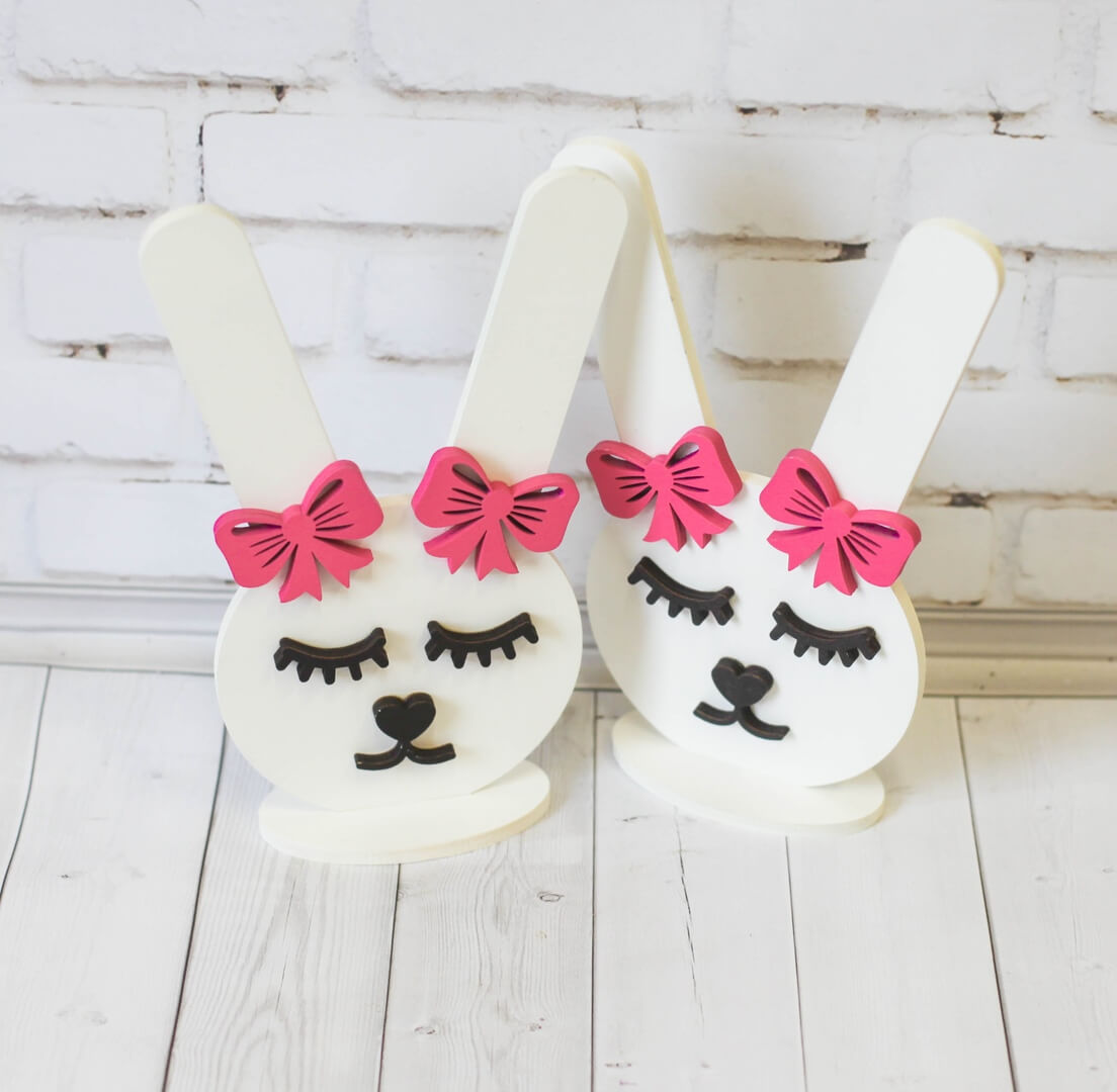 Laser Cut Bunny Rubber Band Stand Hair Band Stand Free Vector