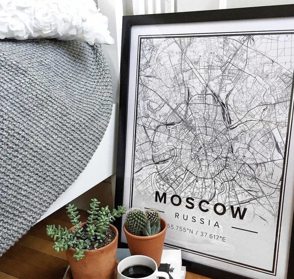 Laser Engraving Moscow Map Wall Art PDF File