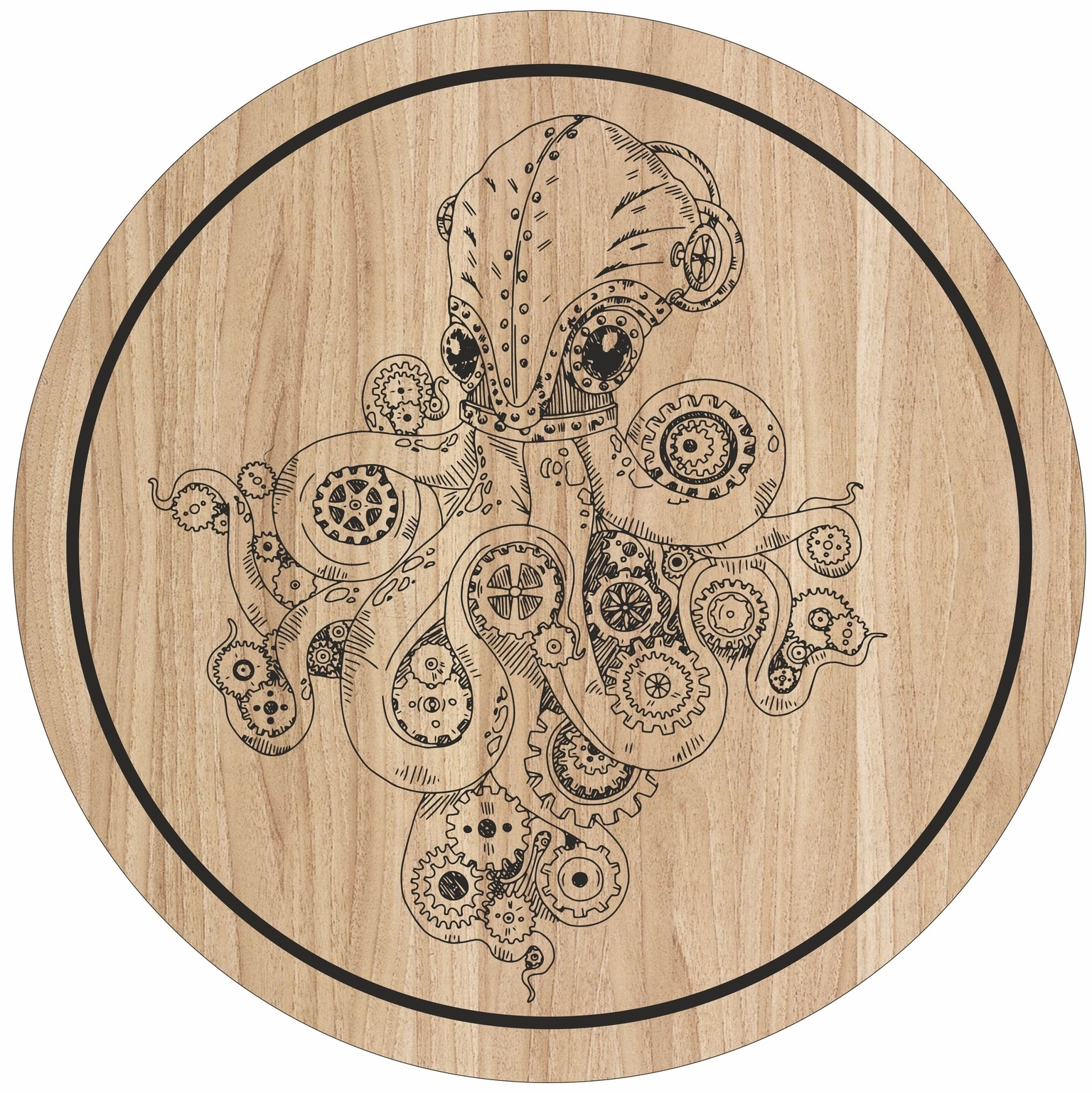 Laser Engraving Octopus Art For Cutting Board Free Vector