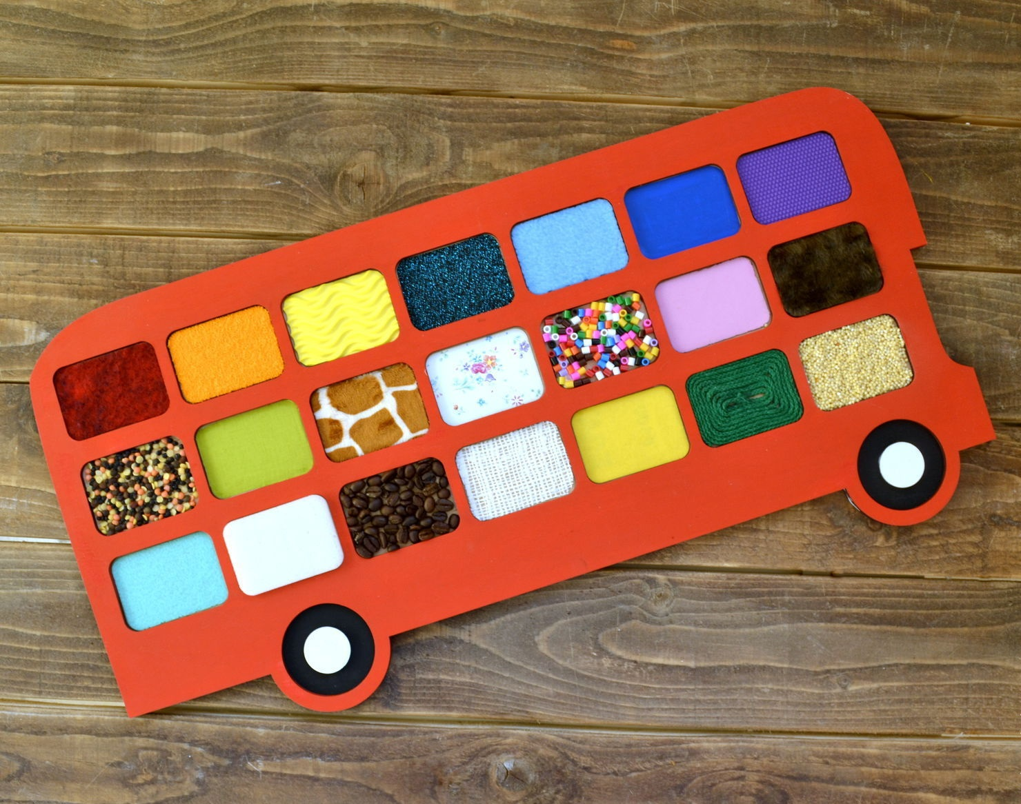 Laser Cut Bus Tactile Game Touch And Match Game Free Vector