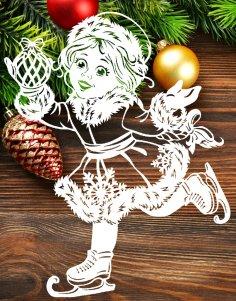 Laser Cut Snow Maiden New Year Window Glass Decoration PDF File