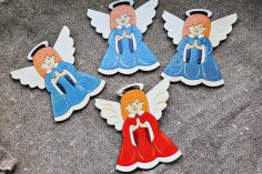 Laser Cut Angels Christmas Decoration Wood Cutout Free Vector