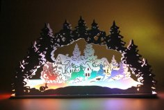 Laser Cut Christmas Santa Snowman Elk Lamp Night Light Desktop Xmas Decor Free Vector