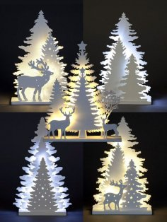Laser Cut Light Up Decoration Christmas Ornament Xmas Festive Tree Deer Free Vector