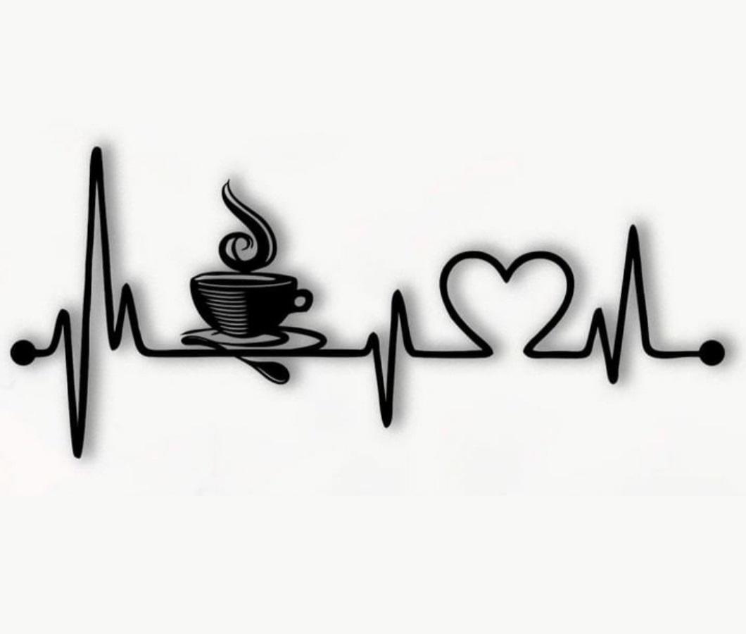 Laser Cut Coffee Heartbeat Lifeline Wall Art Free Vector