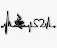 Laser Cut Coffee Heartbeat Lifeline Wall Art Free Vector