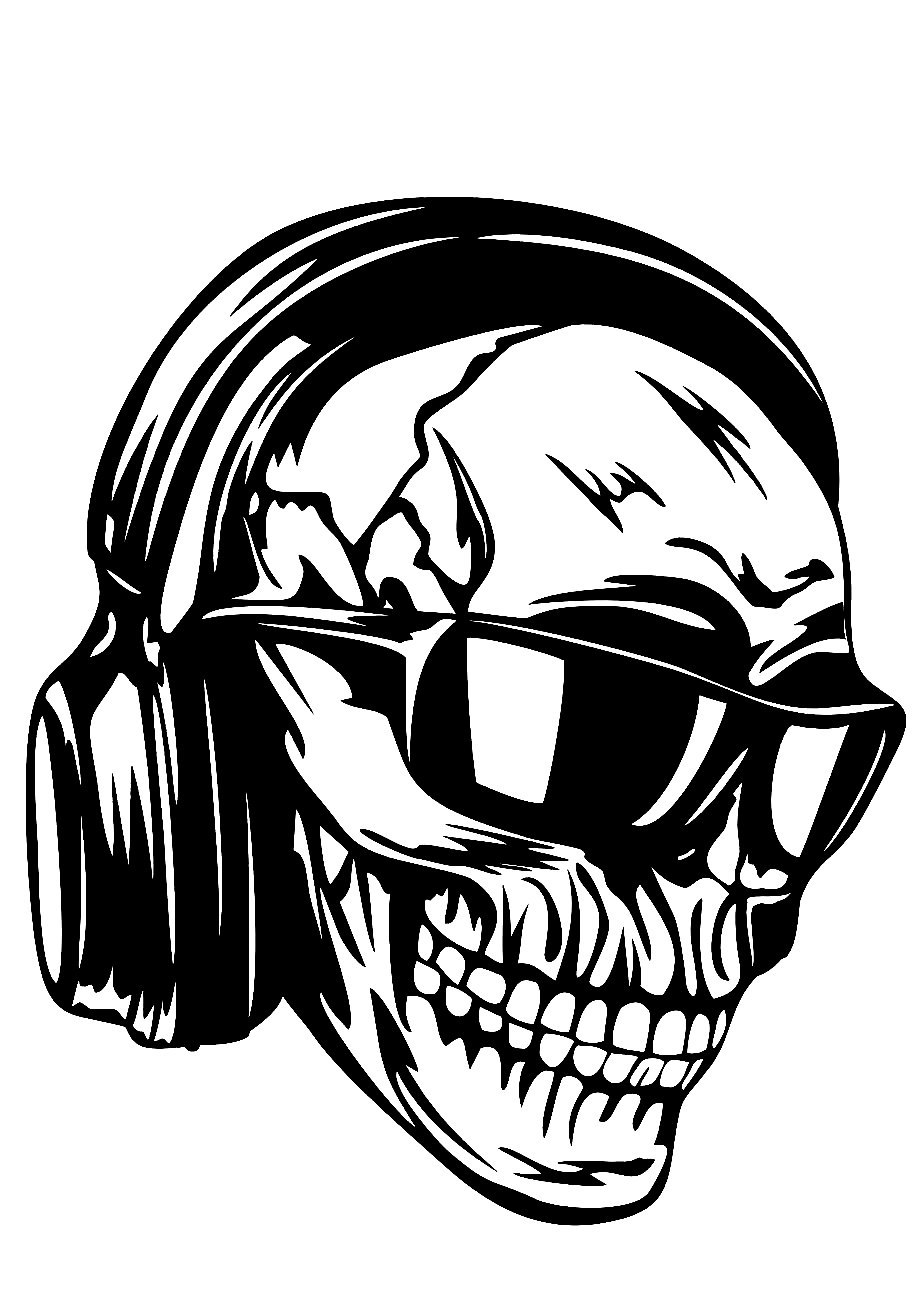 Skull headphones sunglasses vector art DXF File