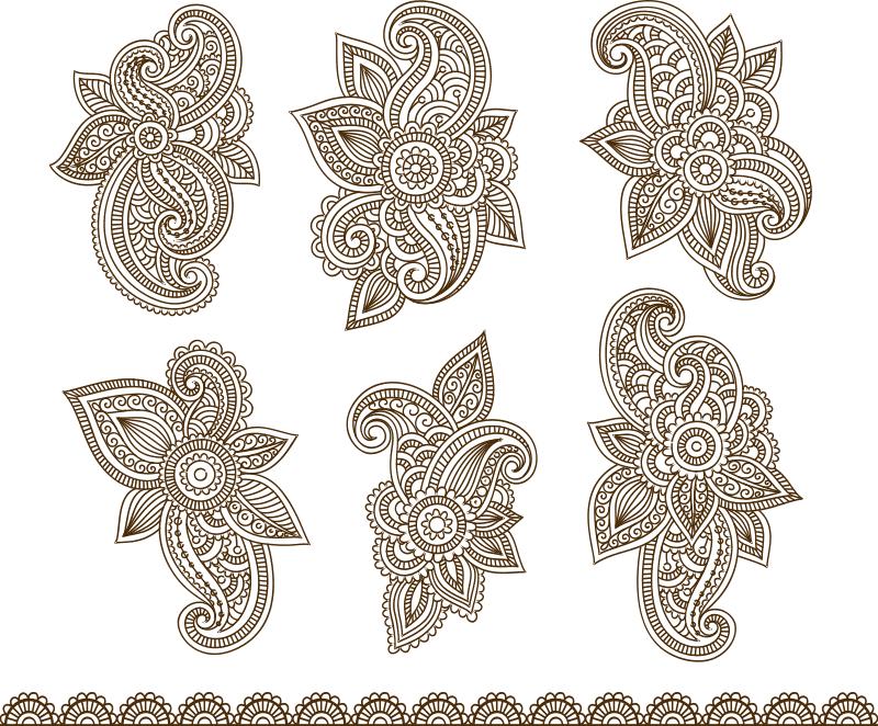 Henna Mehndi Paisley Tattoo Vector Design Elements CDR File
