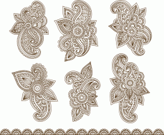 Henna Mehndi Paisley Tattoo Vector Design Elements