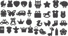 Set Black Silhouettes Pictures Children Toys Vectors CDR File