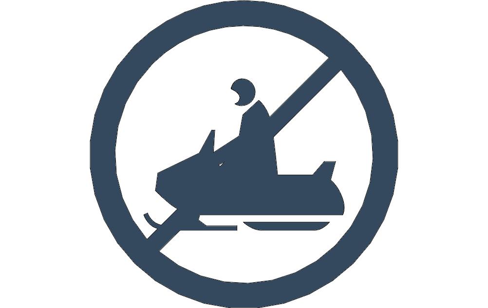 Snowmobile no crossing dxf File