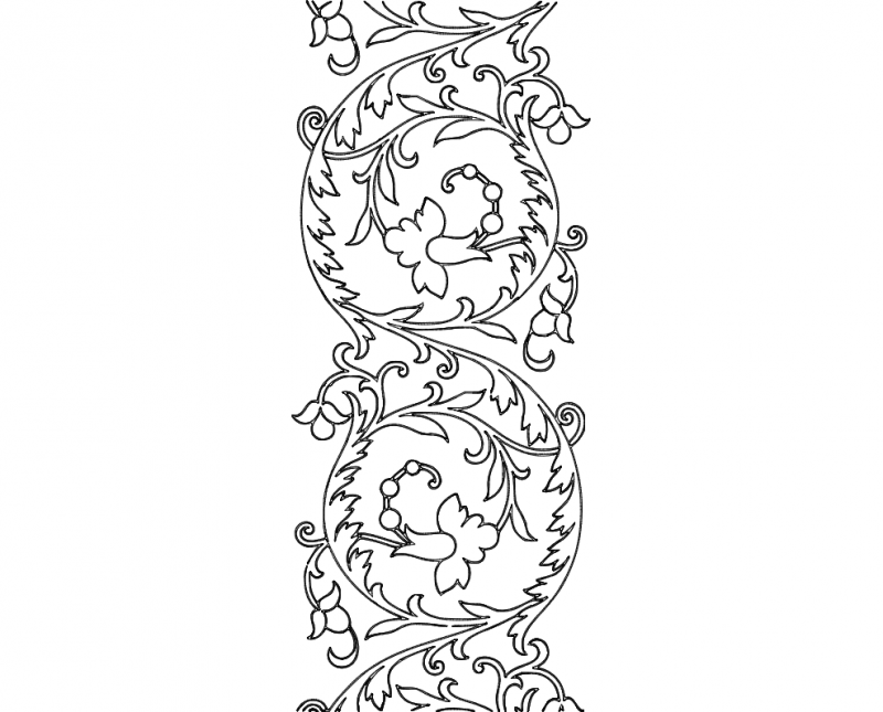 Free Hand Embroidery Pattern Scroll Design dxf File