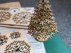 Lasercut design files for snowflake Christmas tree DXF File