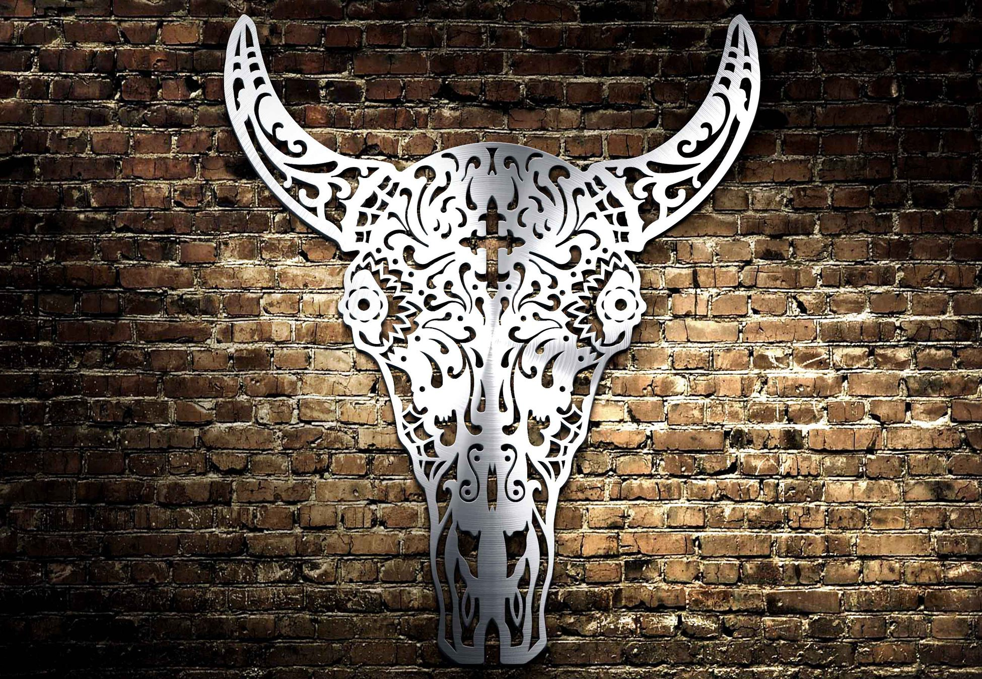 Bull Face stainless steel sheet metal laser cutting DXF File