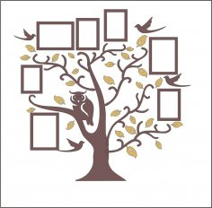 Family Tree Owl Photo Frames Free Vector