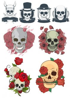 Creative hand-painted skull print pattern Free Vector