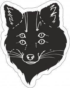 Black Fox Sticker Vector Art CDR File