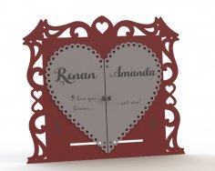 Couple Photo Frame Laser Cut Free Vector