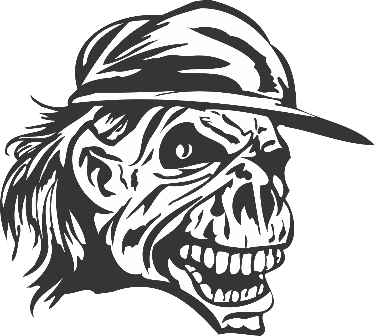 Skull With Cap DXF File