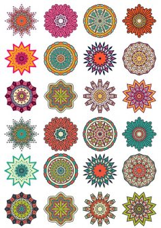 Round Floral Curly Ornament Vector Pack Free Vector