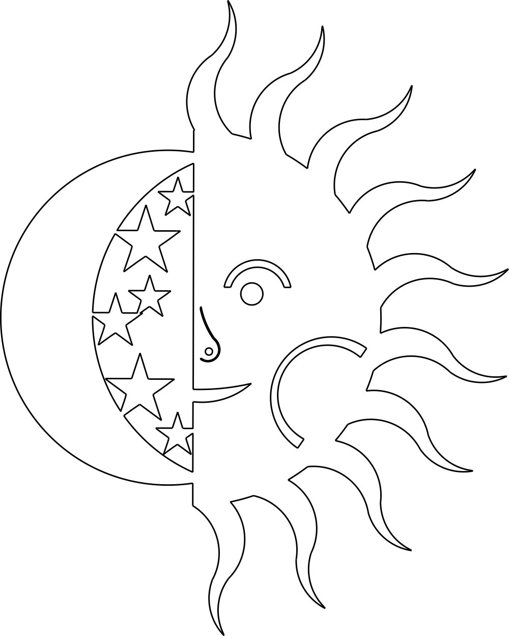 Sun And Moon DXF File